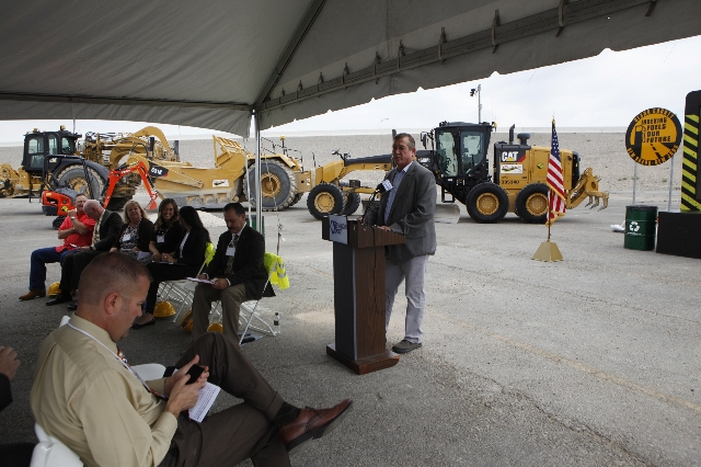 U.S. Rep. Cresent Hardy, R-Nev., speaks during the ground breaking ceremony for the Centennial Bowl Interchange improvement project at a construction near Interstate U.S. 95 and the westbound 215  ...