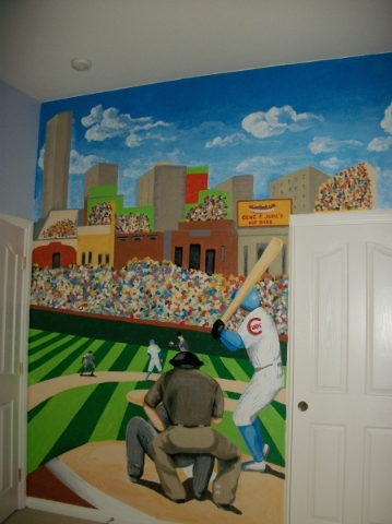 A Wrigley Field Mural Designed By Yasmeen Harper Adorns A Wall In A New  Home.