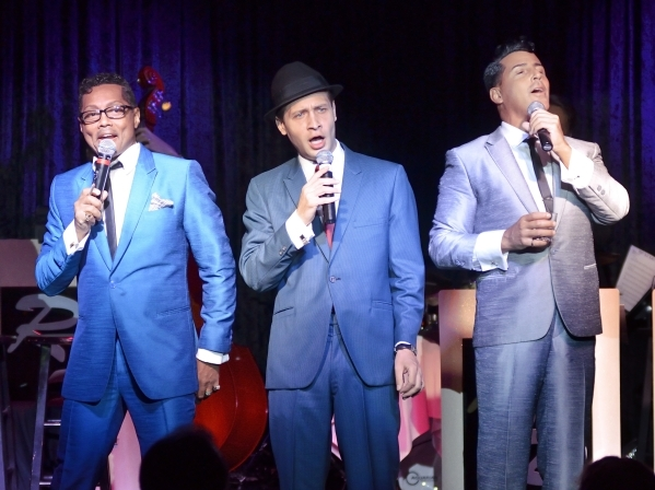 """Sammy Davis Jr. (Kyle Diamond), Frank Sinatra (David DeCosta) and Dean Martin (Drew Anthony) hold court again during """"The Rat Pack Is Back"""" at the Tuscany. (Bill Hughes/Las Vegas Review- ..."""