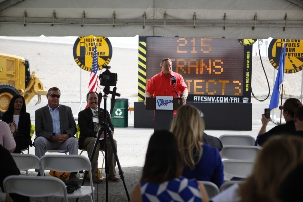 Las Vegas Mayor Pro Tem Steve Ross speaks during the groundbreaking ceremony for the Centennial Bowl Interchange improvement project at a construction area near U.S. Highway 95 and the westbound 2 ...