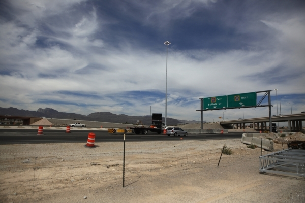The Centennial Bowl Interchange is seen during a groundbreaking ceremony for Phase 3A of the improvement project near U.S. Highway 95 and the westbound 215 Beltway Aug. 6. (Erik Verduzco/View) (Follow