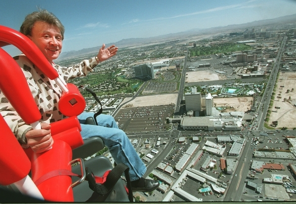 Late casino owner Bob Stupak takes a ride on the Big Shot atop the Stratosphere on April 23, 1996. A proposal has been made by his son, Nevada Stupak, and backed by Las Vegas City Councilman Bob C ...