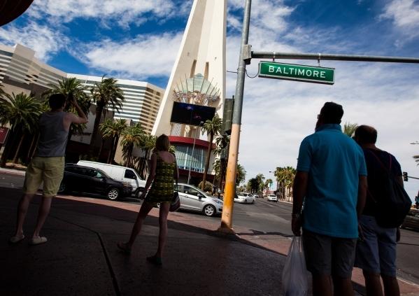 Pedestrians walk along Las Vegas Boulevard at Baltimore Avenue on Tuesday, Aug. 4, 2015. CHASE STEVENS/LAS VEGAS REVIEW-JOURNAL Follow him