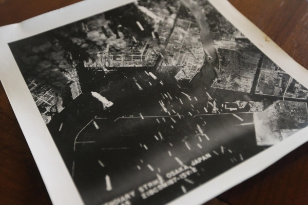 A photo of an incendiary attack on Osaka during WWII is seen on Wednesday, August 5, 2015. Rudolph's father Francis served in World War II and saw the bombing of Hiroshima, which was 70 year ...
