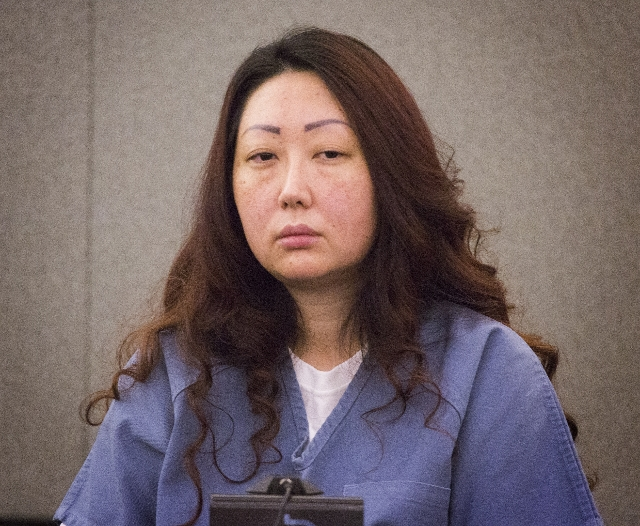 Gloria Lee, imprisoned for torching a pet shop with 27, animals, testifies during a hearing at Regional Justice Court  on Thursday, Aug. 6, 2015. She is requesting to be released to get care for h ...
