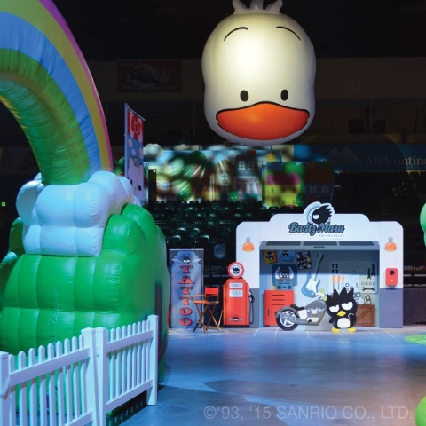 A side stage at Hello Kitty's Supercute Friendship Festival includes a motorcycle shop run by Badtz-Maru, Hello Kitty's penguin friend. (Courtesy photo)