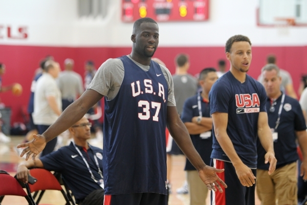 Forward Draymond Green (37) and guard Steph Curry, both of the NBA champion Golden State Warriors, call for a ball during the USA Basketball minicamp practice Tuesday at UNLV's Mendenhall Ce ...