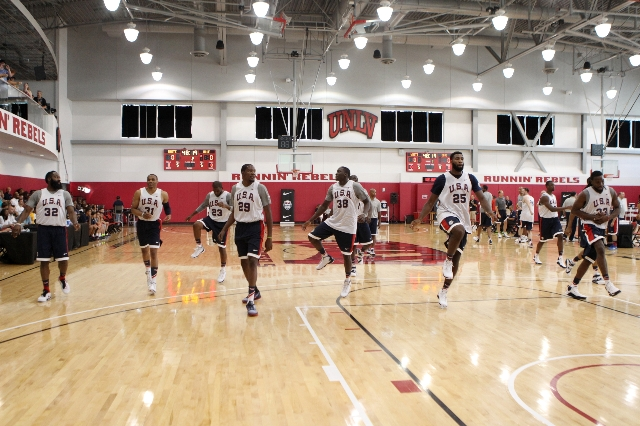 USA Basketball Men's National Team players stretch during a mini-camp practice at the Mendenhall Center on the UNLV campus in Las Vegas Tuesday, August 11, 2015. ERIK VERDUZCO/LAS VEGAS REVI ...