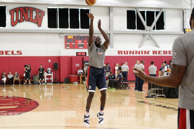 USA Basketball Men's National Team player Draymond Green takes a shot during a mini-camp practice at the Mendenhall Center on the UNLV campus in Las Vegas Tuesday, August 11, 2015. ERIK VERD ...