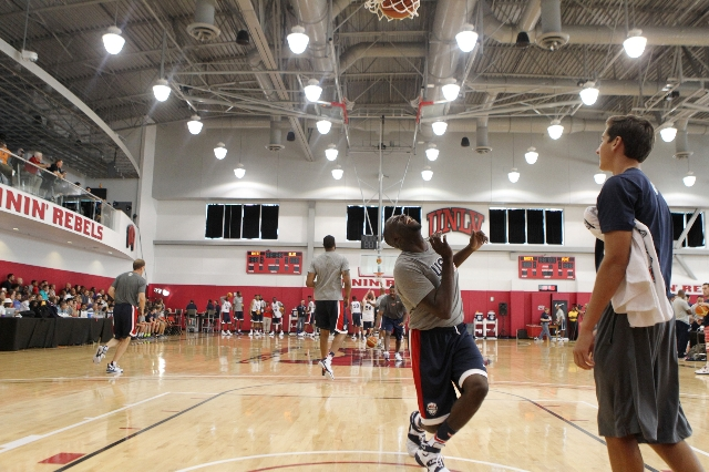 USA Basketball Men's National Team player Draymond Green reacts after a shot at the basket during a mini-camp practice at the Mendenhall Center on the UNLV campus in Las Vegas Tuesday, Augus ...