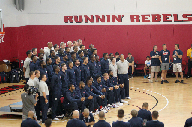 USA Basketball Men's National Team poses for a portrait before their mini-camp practice at the Mendenhall Center on the UNLV campus in Las Vegas Tuesday, August 11, 2015. ERIK VERDUZCO/LAS V ...
