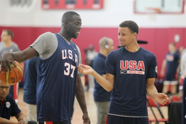 Forward Draymond Green, left, and guard Steph Curry, both of the NBA champion Golden State Warriors, chat at the USA Basketball minicamp practice Tuesday at UNLV's Mendenhall Center. ERIK VE ...