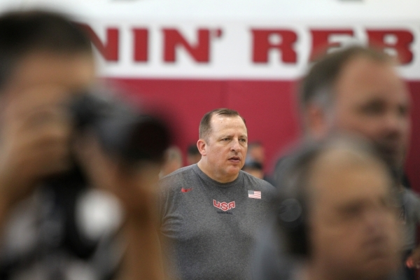 USA Basketball Men's National Team assistant coach Tom Thibodeau stands on the court during a mini-camp practice at the Mendenhall Center on the UNLV campus in Las Vegas Wednesday, August 12 ...