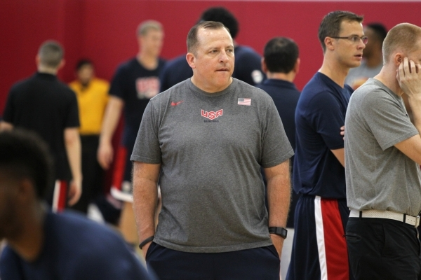 Assistant coach Tom Thibodeau watches during USA Basketball's minicamp practice Wednesday at UNLV's Mendenhall Center. Thibodeau was fired by the Chicago Bulls in May after a solid fiv ...