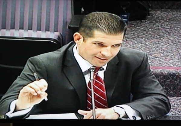 Andrew MacKay, chairman at Nevada Transportation Authority speaks via video conference during a legislative hearing on Uber-related legislation at Grant Sawyer Building Monday, Aug. 10, 2015. BIZU ...