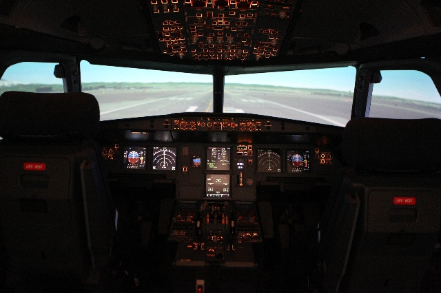 The inside of an A320 Multi-function Flight Training Device is seen inside the newly opened Allegiant Air Training Center in Las Vegas Tuesday, Aug. 11, 2015. ERIK VERDUZCO/LAS VEGAS REVIEW-JOURNA ...