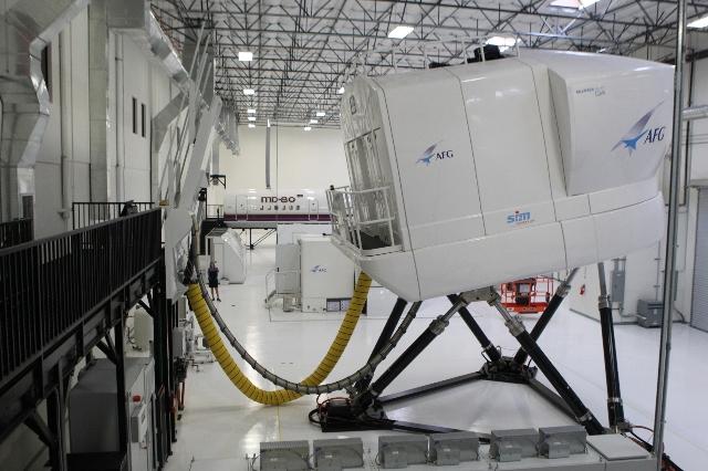 Flight training simulators are seen inside the newly opened Allegiant Air Training Center in Las Vegas is seen on Tuesday, Aug. 11, 2015. ERIK VERDUZCO/LAS VEGAS REVIEW-JOURNAL Follow him @Erik_Ve ...