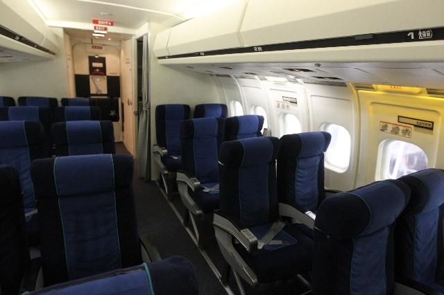The inside of an MD-80 training cabin is seen at the newly opened Allegiant Air Training Center in Las Vegas Tuesday, Aug. 11, 2015. ERIK VERDUZCO/LAS VEGAS REVIEW-JOURNAL Follow him @Erik_Verduzco