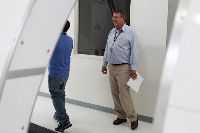 John Painter, project planning operations manager for Allegiant Air, tours the newly opened Allegiant Air Training Center in Las Vegas Tuesday, Aug. 11, 2015. ERIK VERDUZCO/LAS VEGAS REVIEW-JOURNA ...