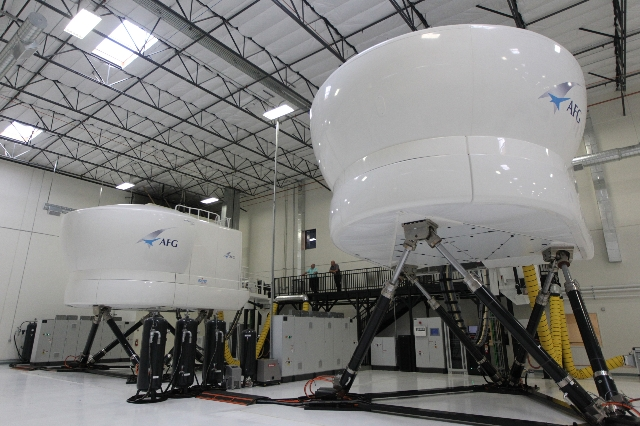 Two A320 Multi-function Flight Training Devices are seen inside the newly opened Allegiant Air Training Center in Las Vegas Tuesday, Aug. 11, 2015. ERIK VERDUZCO/LAS VEGAS REVIEW-JOURNAL Follow hi ...
