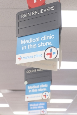 Minute Clinic signage is displayed prominently at CVS. Drugstore clinics typically handle such routine problems as sinus infections, joint pain, allergies, bronchitis and skin irritation. (Jason O ...