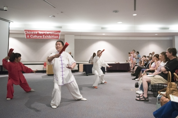 Desert Breeze Park Tai Chi Group gives a demonstration during the Chinese Tea Ceremony & Culture Exhibition at Sahara West Library in Las Vegas, Saturday, Aug. 8, 2015. (Jason Ogulnik/Las Vega ...