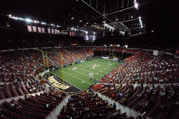 Arena football fans attend the game between the Outlaws and Portland Thunder on June 28 at the Thomas & Mack Center. JOSH HOLMBERG/LAS VEGAS REVIEW-JOURNAL