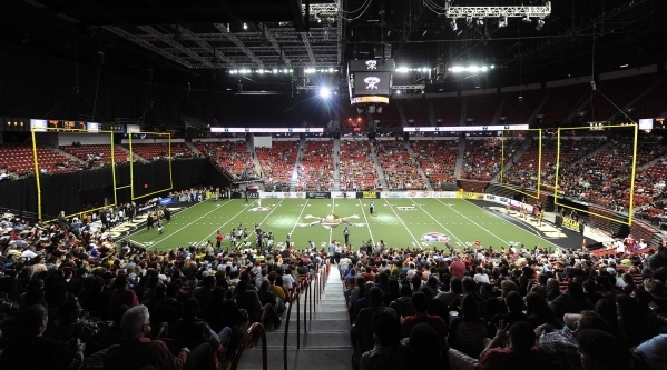 Arena football fans attend the game between the Outlaws and Los Angeles Kiss on May 4 at the Thomas & Mack Center. JOSH HOLMBERG/LAS VEGAS REVIEW-JOURNAL
