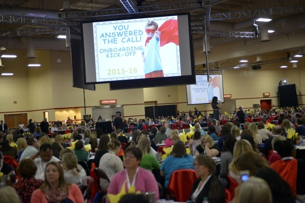 More than 1,500 new teachers and 400 long-term substitutes participate in the Clark County School District's New Teacher Onboarding orientation event at the South Point hotel-casino in Las V ...