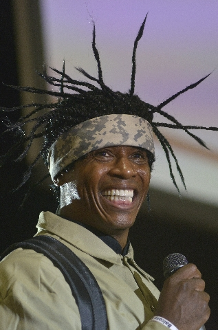 Dr. Adolph Brown gives the keynote address to more than 1,500 new teachers and 400 long-term substitutes during the Clark County School District's New Teacher Onboarding orientation event at ...