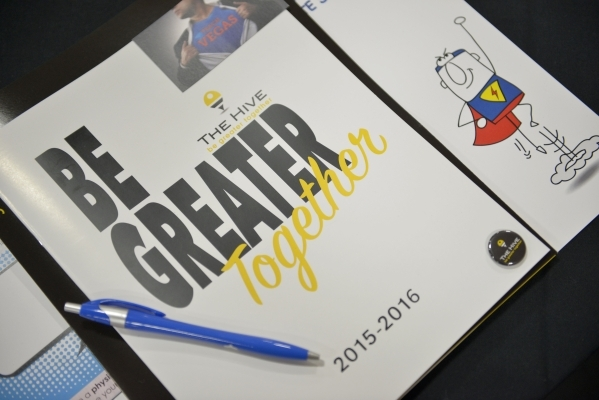 Some of the informational materials 1,500 new teachers and 400 long-term substitutes were given in the Clark County School District's New Teacher Onboarding orientation event at the South Po ...