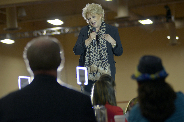 Las Vegas Mayor Carolyn Goodman, speaks to more than 1,500 new teachers and 400 long-term substitutes during the Clark County School District's New Teacher Onboarding orientation event at th ...