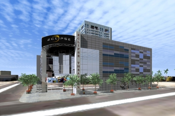 Eclipse Theaters, a movie theater set to open in Downtown Las Vegas spring 2016, is shown in this rendering made available to the Las Vegas Review-Journal Monday, Aug. 10, 2015. The eight-screen c ...
