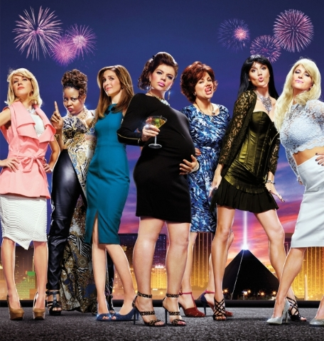 """From left, Angela Kinsey, Tymberlee Hill, Danielle Schneider, Casey Wilson, Dannah Phirman, Erinn Hayes and Andrea Savage star in Hulu's """"The Hotwives of Las Vegas."""" (Courtesy Hulu)"""