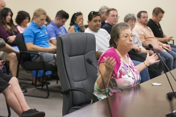 Barbara Nelson speaks during a meeting at the Public Utilities Commission West Diablo Road office in Las Vegas, Wednesday, Aug. 12, 2015. (Jason Ogulnik/Las Vegas Review-Journal)