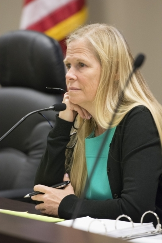 Alaina Burtenshaw, chairman of the Public Utilities Commission, listens to public comment during a meeting at the Public Utilities Commission West Diablo Road office in Las Vegas, Wednesday, Aug.  ...