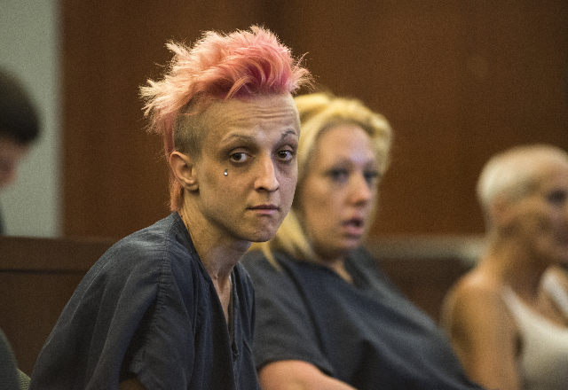 Defendant Margarita Balandova, 28, accused in the stabbing death of 84-year-old Mary Luebeck, is seen during a court appearance from the Regional Justice Center in Las Vegas on Wednesday, Aug. 12, ...