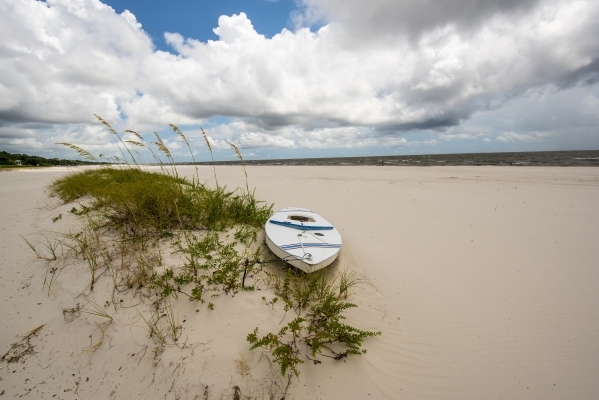 A boat rests on the beach Aug. 15 in Long Beach, Miss.   Joshua Dahl/Las Vegas Review-Journal