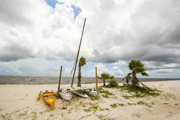Boats rest on the beach Aug. 15 in Long Beach, Miss.   Joshua Dahl/Las Vegas Review-Journal