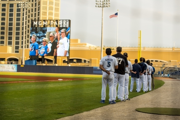 The Biloxi Shuckers stand on field before playing the Pensacola Blue Wahoos at MGM Park in Biloxi, Miss. on Wednesday, Aug. 12, 2015. (Joshua Dahl/Las Vegas Review-Journal)