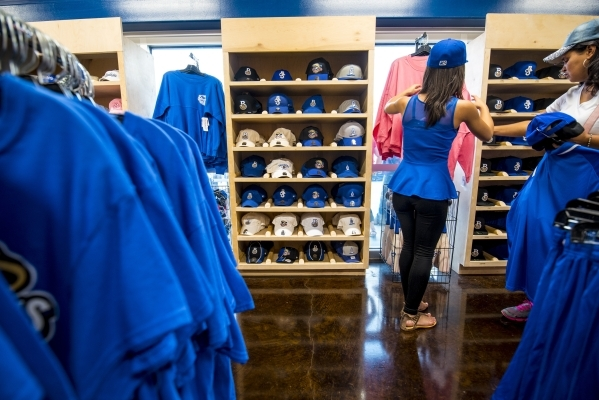 Fans browse the Shuckers Shop at MGM Park in Biloxi, Miss. on Wednesday, Aug. 12, 2015. (Joshua Dahl/Las Vegas Review-Journal)