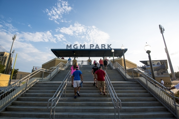 Fans make their way up the stairs into MGM Park on Aug. 12. (Joshua Dahl/Las Vegas Review-Journal)