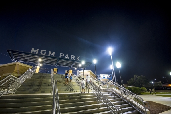 Fans make their way down the stairs in to MGM Park in Biloxi, Miss. on Wednesday, Aug. 12, 2015. (Joshua Dahl/Las Vegas Review-Journal)