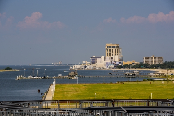 The Hard Rock Casino and Beau Rivage are seen from the Golden Nugget in Biloxi, Miss., in mid-August. (Joshua Dahl/Las Vegas Review-Journal)
