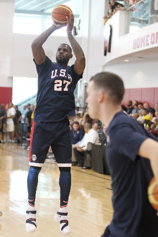 USA Basketball Men's National Team player Lebron James goes up for a shot during a mini-camp practice at the Mendenhall Center on the UNLV campus in Las Vegas Wednesday, August 12, 2015. (Er ...
