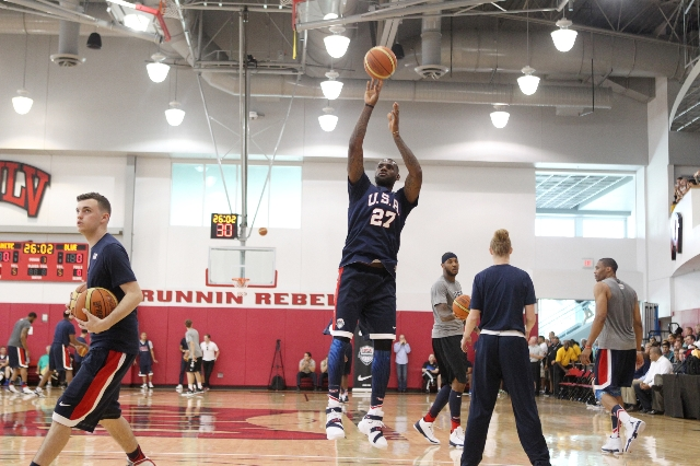 USA Basketball Men's National Team player Lebron James takes a shot during a mini-camp practice at the Mendenhall Center on the UNLV campus in Las Vegas Wednesday, August 12, 2015. (Erik Ver ...
