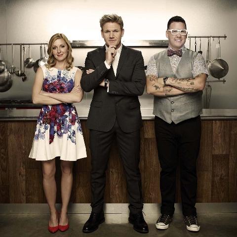 "From left, Christina Tosi, Gordon Ramsay and Graham Elliot serve as judges on Fox's ""MasterChef."" (Courtesy Fox)"