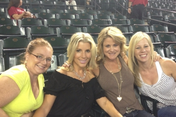 Las Vegas resident Liz Fogg, far left, and friends pose at an Arizona Diamondbacks game in September 2013 before a bat came flying into the stands and shattered her orbital bone. COURTESY PHOTO