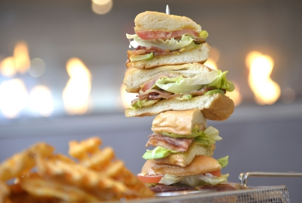 The BLT sandwich prepared by Cafe 6 at Palms Place is served with your choice of onion rings, fries or waffle fries. (Jacob Kepler/Las Vegas Review-Journal)