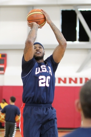 USA Basketball Men's National Team player Carmelo Anthony goes up for a shot during a mini-camp practice at the Mendenhall Center on the UNLV campus in Las Vegas Tuesday, August 11, 2015. ER ...